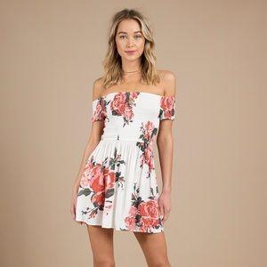 Tobi Darlin Ivory Multi Rose Print Skater Dress